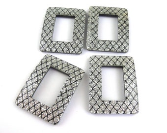 Lucite Silver and Black Glitter Buckles, 4 pcs