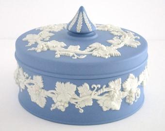 Wedgwood England Bright Pale Blue and White Jasperware Trinket Box