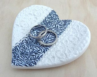 Blue and white ceramic ring dish. Blue floral ring bowl. Engagement or wedding gift.