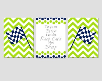 Race Car Nursery Wall Art Racing Nursery Decor - Checkered Flag Chevron To Go To Sleep I Count Race Cars Not Sheep Quote - Set of 3 Prints
