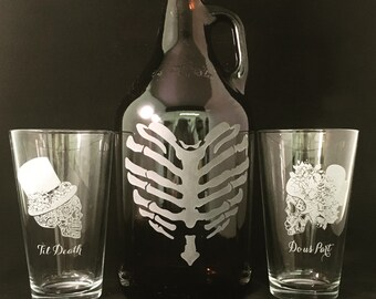 Wedding gift, Wedding growler, Monogram, Monogram growler, Sugar skull, Day of the dead, Dia de los muertos, Skull wedding, beer ceremony