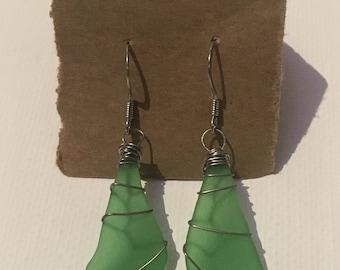 Green wire-wrapped Sea Glass earrings