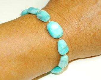 Turquoise Blue Bracelet - Amazonite Gemstone - Large Natural Stone Bracelet - Chunky Big Bracelet