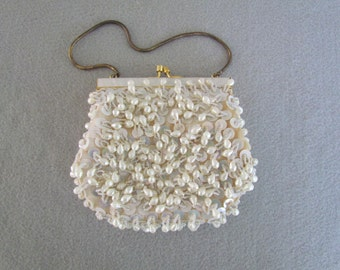 Dressy Sequined and Beaded White Evening Purse with Snake Chain Handle