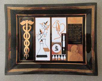 Vintage Glass Dish, Hippocratic Oath, Doctor Gift, Medical Images, Caduceus Symbol, Medical Advertising, Gold and Black Glass Dish