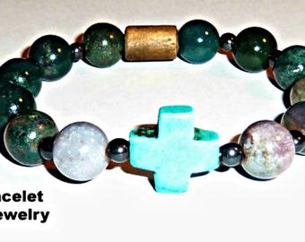 "Men's Bracelet :Very Unique  Fancy Jasper, Howlite Cross, Hematite and Wood  beads ""Faithful"""