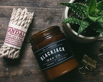 No. 12 WILDWOOD Blackjack Wax Co. Handmade Soy Wax Candle 1/2 lb. Amber Jar Candle, Scented Candle, Hand Poured Candle