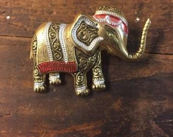 Vintage Toledoware Elephant Damascene Pin Brooch SPAIN