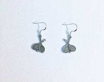 Tennis racquet earrings - Tennis earrings - tennis player - tennis jewellery - tennis Jewelry - silver earrings