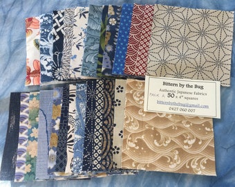 "50 x 4"" squares of Authentic Japanese Fabric (Pack A)"