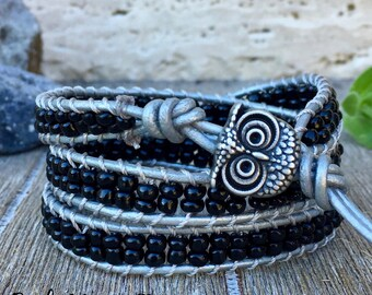 Triple Wrap Leather Bracelet Black Seed Bead with Owl