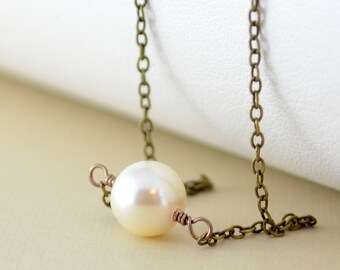 Simple Pearl Choker, Antiqued Brass, Floating Necklace, Swarovski Crystal Pearl, Wire Wrapped Jewelry