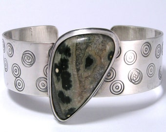 Ocean Jasper Sterling Silver Cuff Bracelet - Green Orbs and Browns with Stamped Circles One Of A Kind