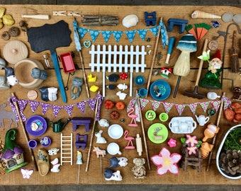 Fairy garden. Fairy Garden accessories grab bag, Deluxe Bag, Miniature garden, Terrarium. Build your own fairy garden. Kids Craft
