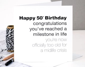 Card for men etsy funny 50th birthday card for men too old for a midlife crisis bookmarktalkfo