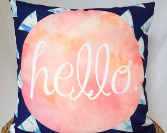Hello Pillow Cover // Blue and Pink Hello Pillow Cover //  Geometric Pillow Cover