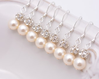 4 Pairs Ivory Bridesmaid Earrings, Pearl and Rhinestone Earrings, Cream Pearl Earrings, Ivory Pearl Earrings 0111