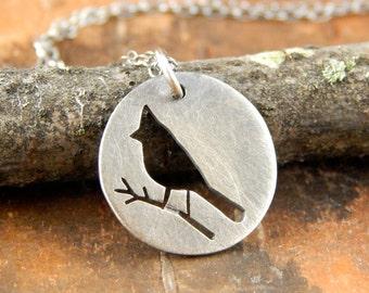 Cardinal necklace, silver bird necklace, hand-cut sterling silver bird pendant, tiny cardinal necklace.