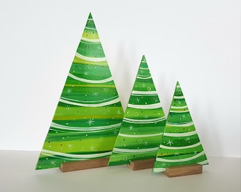 Christmas trees, christmas ornaments, handmade wooden christmas trees, handpainted decorations, christmas decorations, handpainted trees