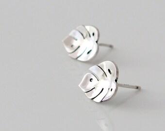 Monstera Earrings - Silver Stud Earrings - Tropical Plants - Leaf Earrings - Botanical - Dainty Earrings - Nature Jewelry - Nature Earrings