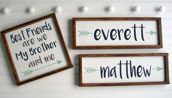 Twin Boys . Brothers . Brothers Room Set . Custom Name Signs . Sign Set . Baby Name Sign . Woodland . Rustic . Tribal . Twins . Boys Room