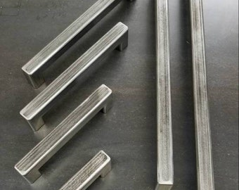 """Industrial Raw Steel Door Handle or Drawer Pull or Cabinet Handle - 8"""" to 24"""" - Thick Wall, Steel Construction"""