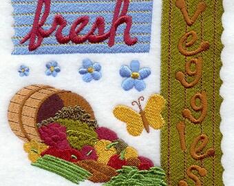 Fresh Veggies Embroidered Flour Sack Hand/Dish Towel