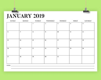 11 x 17 Inch 2019 Calendar Template | INSTANT DOWNLOAD | Bold Stencil Serif Type Monthly Printable Minimal Desk Wall Calender | Print Ready