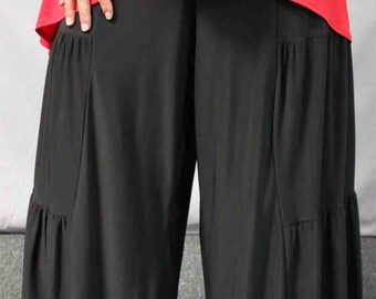 New Artistic Plus Size LagenLook Tiered Wide Legged Pants. Fun,Comfort, Travel.