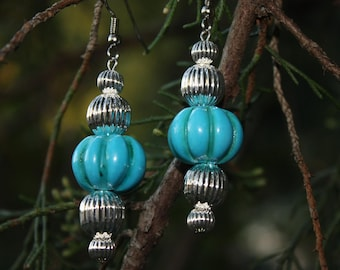 Turquoise Earrings - Turquoise And Silver Earrings - Native Inspired Southwestern Style - Gift For Her - Sky Blue Earrings - Two Feathers