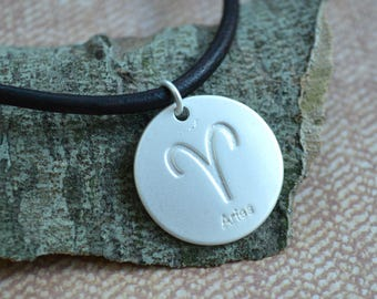 Leather Surfer Necklace With Ancient Zodiac Aries Distresed Cord
