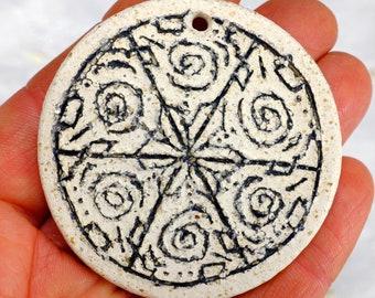 Mandala Bead, Handmade Bead, Clay Bead, Pendant, Focal Bead, Ceramic Bead, Mica Clay Bead, Boho Bead (A3)