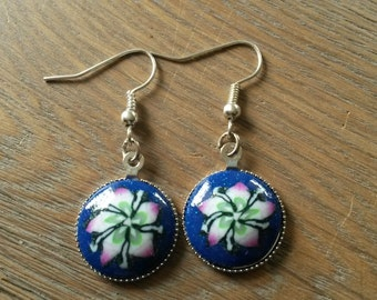 Classic earrings with a fimo clay cabochon with flowers, flower earrings, blue earrings