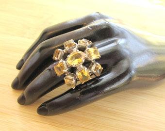 Huge Vintage Modernist Sterling Silver Citrine Ring - Ladies Mid Century Citrine Sterling Ring - Big Sterling Hollywood Glam Citrine Ring