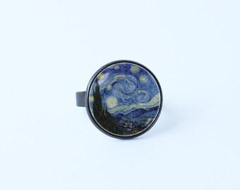 Starry Night ring Van Gogh ring Van Gogh jewelry Girlfriend gift Art ring Art jewelry Starry Night jewelry Van Gogh art Impressionism Girl's