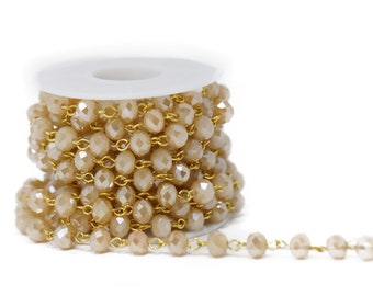 Lovely Bead 8x6mm Matte Golden Shadow Crystal Rosary Chain in Gold Wire (About 10 foot per Roll)