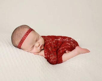 Red Stretch Lace Wrap Newborn Photography Prop Baby Swaddle
