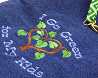Go Green Embroidered Farmer's Market Grocery Tote - Love Your Mother - Love Your Kids Denim and Lined with Diamonds