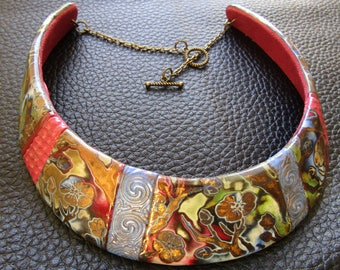 Floral polymer clay bib necklace