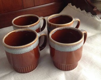 Brown and Aqua Drip Glaze Stackable Mugs