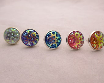 Oil Spill 12mm Clear, Purple, Blue, Pink and Orange Earring Studs, light weight, small earrings