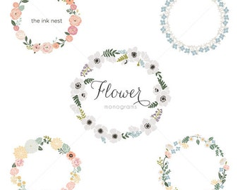 CLIP ART - Flower Monograms - for commercial and personal use