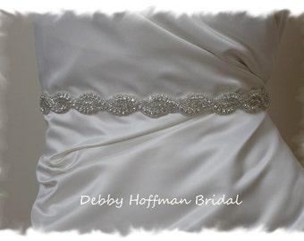Wedding Dress Belt, 26 Inch Rhinestone Crystal Bridal Belt, Crystal Beaded Wedding Sash, Jeweled Wedding Sashes and Belts,  No. 1126S-26