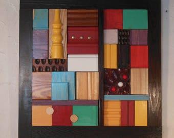 Wood Wall Art, Wood Wall Mosaic, Reclaimed Wood Art