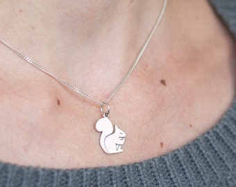 Silver Squirrel Necklace, Winter wife gift, Fairytale-gift, Gifts-for-sister, Sterling Silver Squirrel Pendant, Best winter women gift
