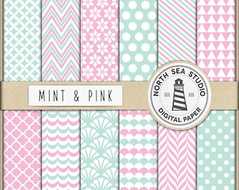 Mint And Pink Digital Paper Pack | Scrapbook Paper | Printable Backgrounds | 12 JPG, 300dpi Files | BUY5FOR8