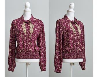 Women's Vintage 1980s Burgundy Secretary Blouse