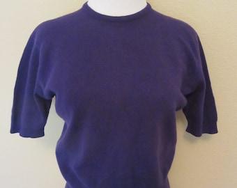 Vintage 60s Dalton Purple Cashmere Sweater Short Sleeve Pull Over Bombshell M Medium