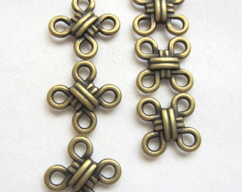 10 Bronze knotted jewelry connectors jewelry charms antique bronze pendants 10mm x 10mm x 3mm  F1010-SR-8-4