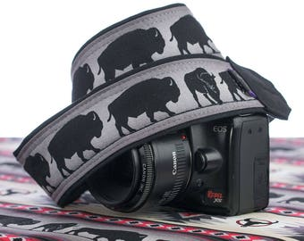 Camera Strap, dSLR, SLR, Mirrorless, Buffalo, Canon Strap, Nikon Strap, Camera Neck Strap, Mens Camera Strap, Womens,  241